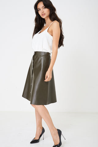 Ladies Faux Leather Skirt in Khaki