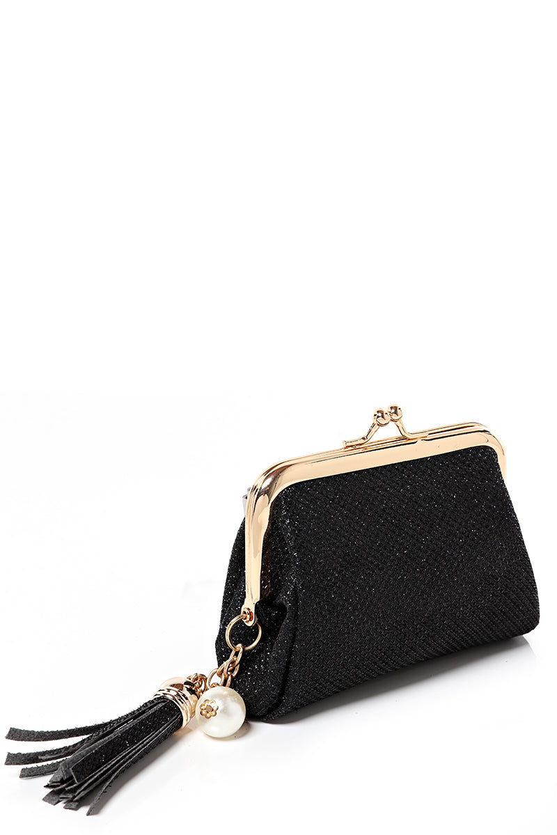 Black Coin Purse with Tassel, Purses - First Impression UK