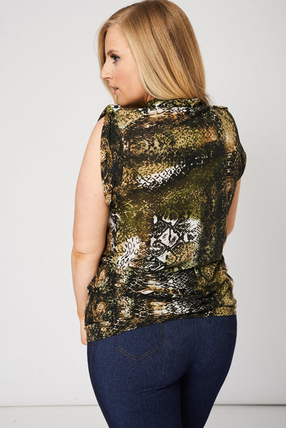 Button Front Sleeveless Snake Pattern Top, Tops - First Impression UK