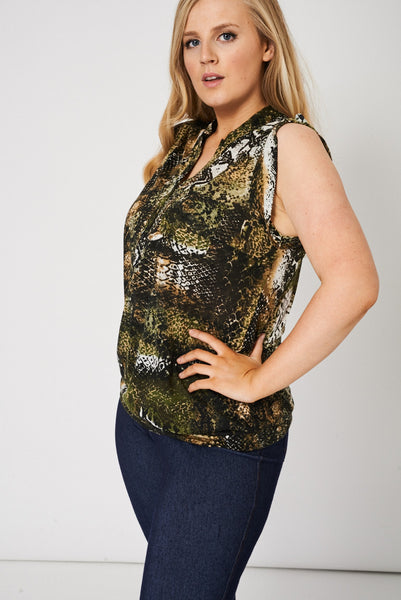 Button Front Sleeveless Snake Pattern Top - First Impression UK
