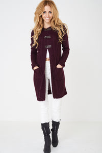 Ladies Burgundy Hooded Cable Knit Cardigan