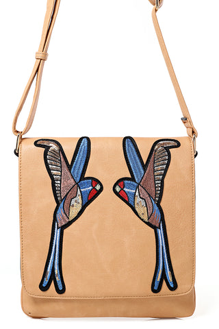 Beige Crossbody Bag With Bird Embroidery - First Impression UK