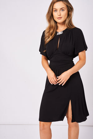 Diamonte Brooch Batwing Dress - First Impression UK
