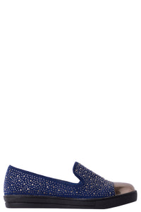 Ladies Mirror-Toe Embellished Plimsolls in Navy