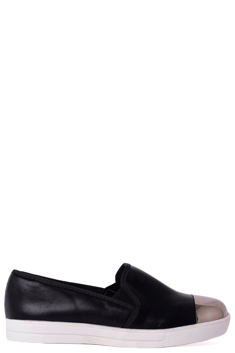 Ladies Mirror-Toe Plimsolls in Black