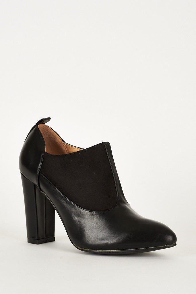 Black Faux Suede Leather Ankle Boot - First Impression UK