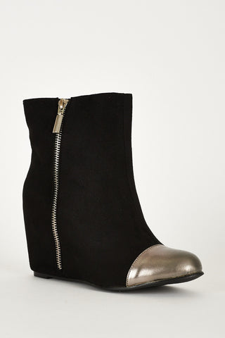 Black And Silver Zip Detail Faux Suede Hidden Wedge Ankle Boots - First Impression UK