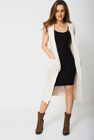 Ladies Chunky Knit Maxi Cardigan