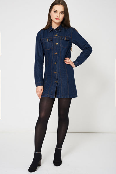 Blue Denim Shirt Dress Ex-Branded - First Impression UK