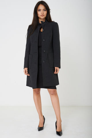 Grey Long Funnel Neck Coat Ex Brand