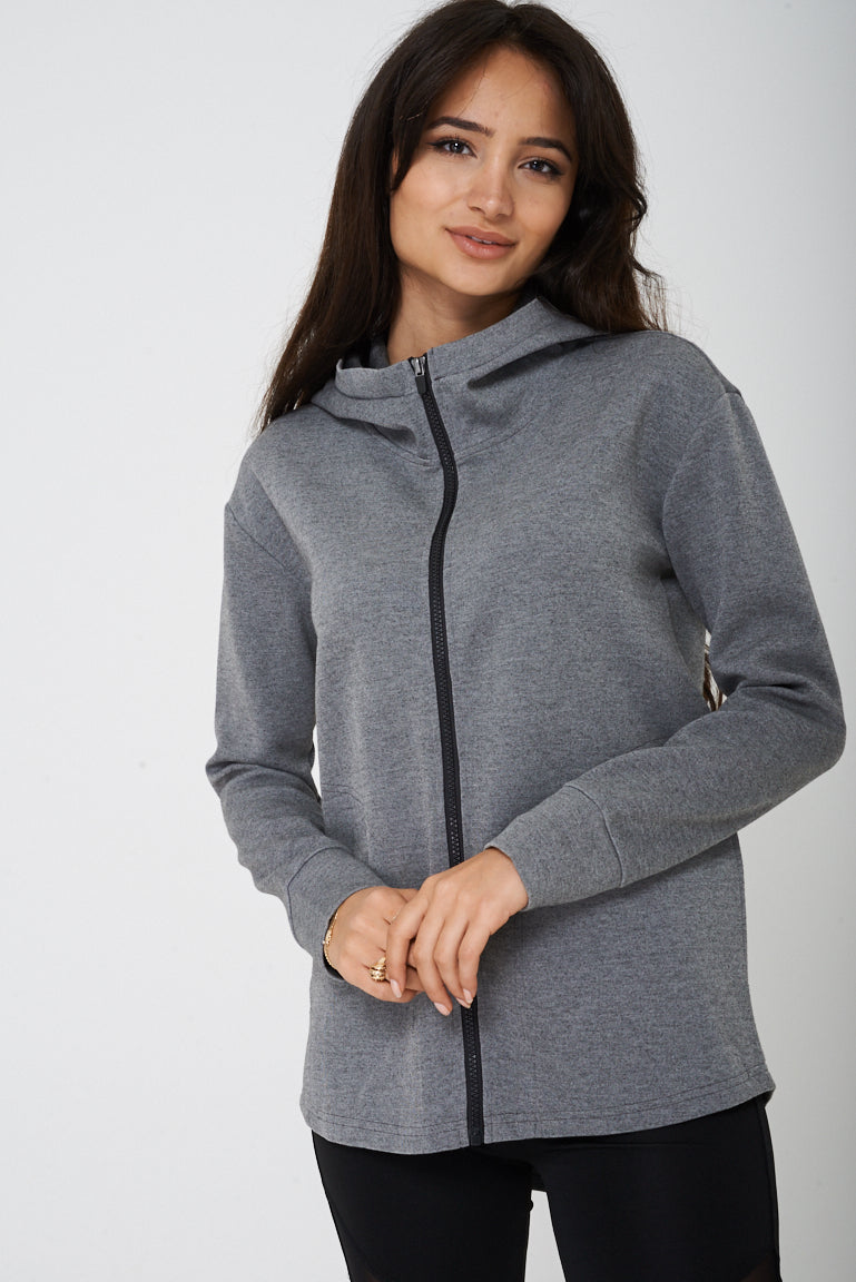 Active Grey Jacket with Hoodie Ex Brand, Jackets & Coats - First Impression UK