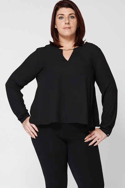 Black Chiffon A-line Blouse Ex-Branded - First Impression UK