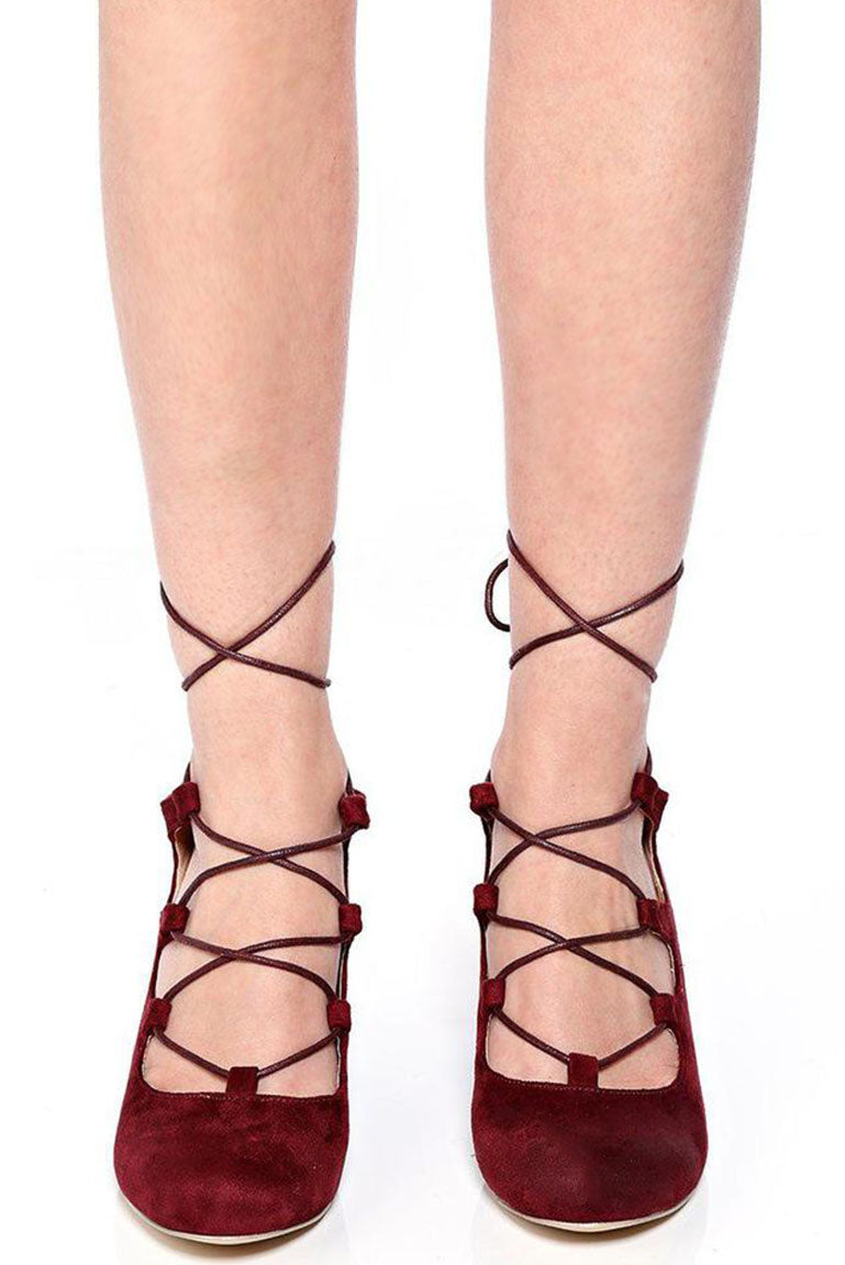 Burgundy Lace Up Wedge, High Heels - First Impression UK