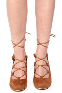 Camel Lace Up Wedge, High Heels - First Impression UK