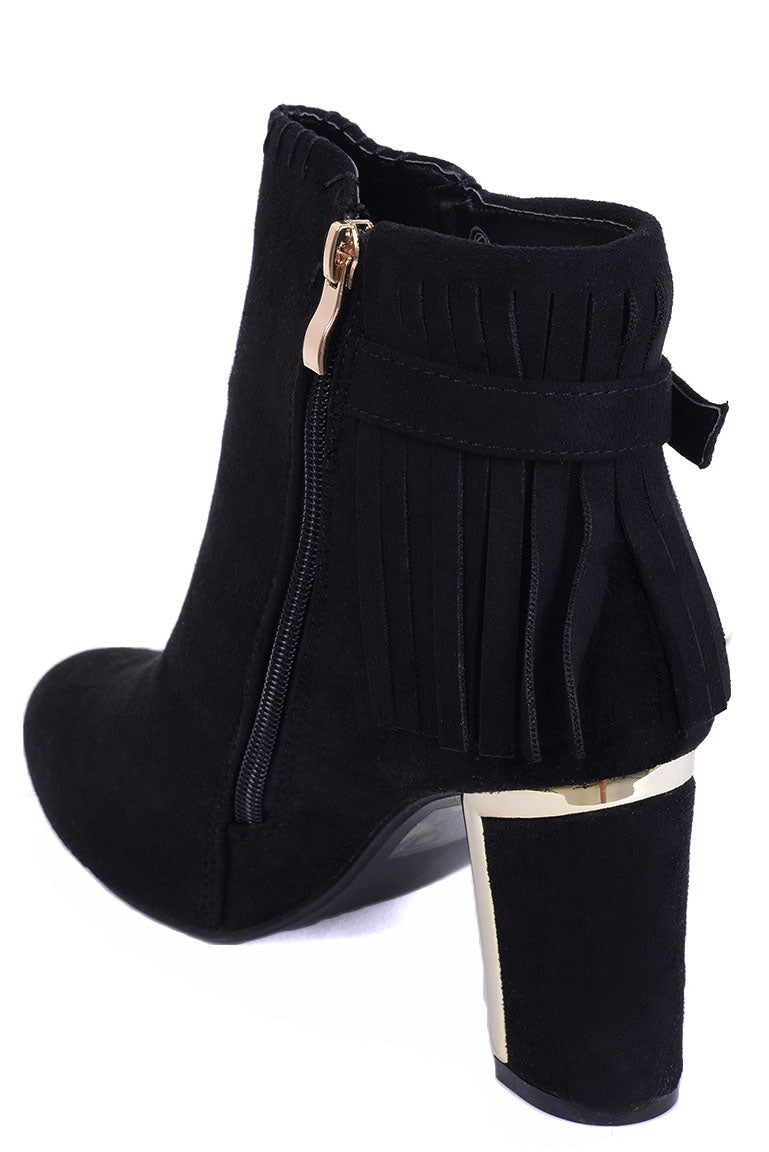 Black Faux Suede Fringe Ankle Boots, High Heels - First Impression UK