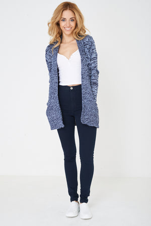 Ladies Blue Open Front Cardigan in Mixed Yarn