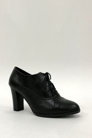 Black High Heel Lace Up Office Smart Ankle Boots Shoes