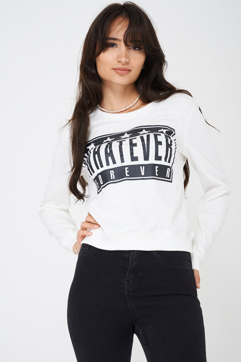 Ladies Whatever Forever White Cropped Jumper