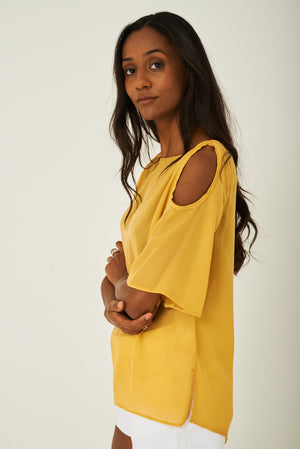 Ladies Cold Shoulder Top in Yellow