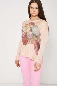Blush Knitted Top With Floral Print, Tops - First Impression UK