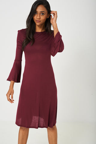Bell Sleeve Dress in Burgundy - First Impression UK
