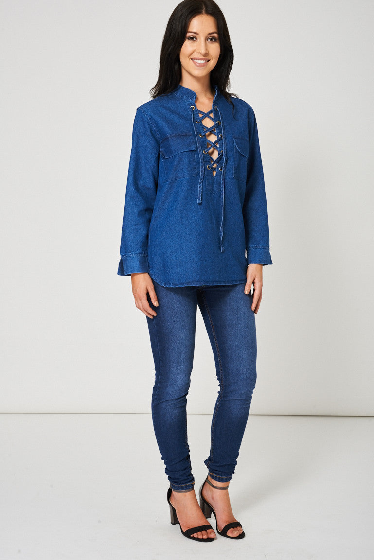 Criss Cross Front Denim Top Ex-Branded - First Impression UK