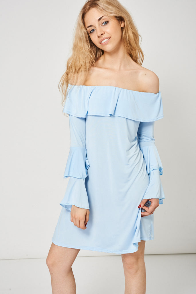 Bardot Layered Frill Dress In Light Blue - First Impression UK