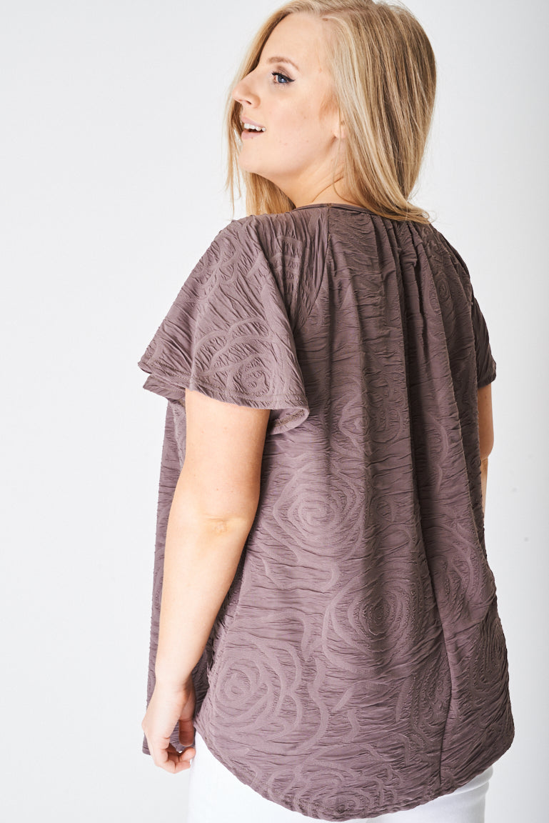 PLUS Pleated Front Textured Top - First Impression UK