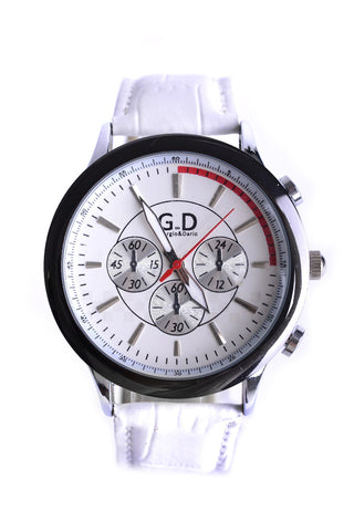 Unisex 3 Sub-Dial Watch In White