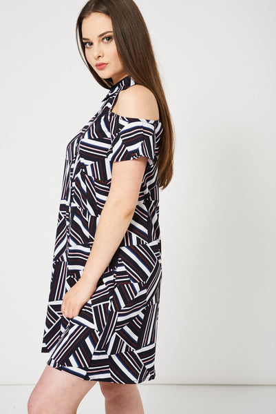 Abstract Pattern Cold Shoulder Swing Dress - First Impression UK