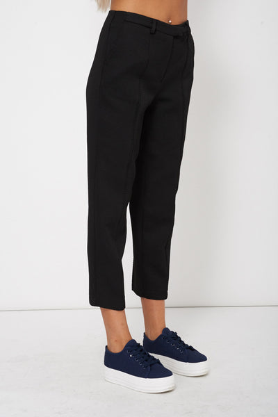 Black Textured Tailored 3/4 Trousers - First Impression UK