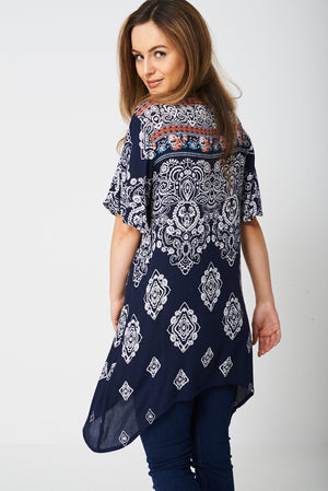 Ladies Paisley Tunic Top with Moon Hemline