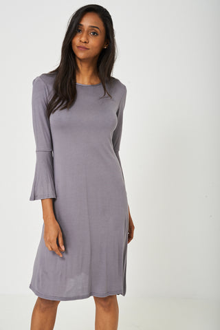 Bell Sleeve Dress in Grey - First Impression UK