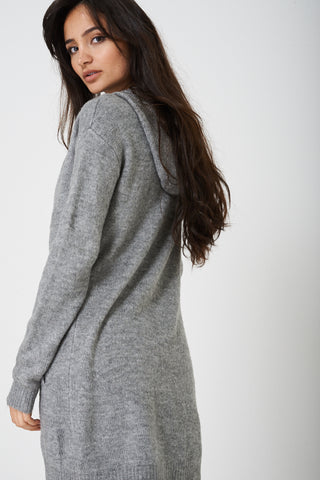 Open Front Hooded Cardigan in Light Grey