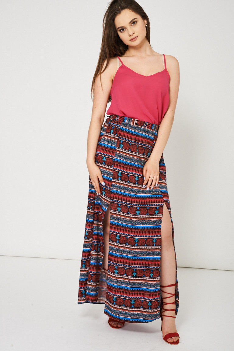 Abstract Pattern Split Front Maxi Skirt Ex-Branded Available In Plus Sizes, Skirts - First Impression UK