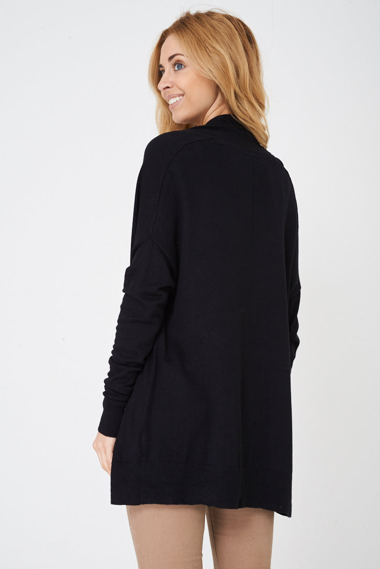 Ladies Zip Through Knitted Black Cardigan