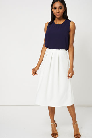 Cream Full Midi Scuba Skirt Available In plus Sizes - First Impression UK