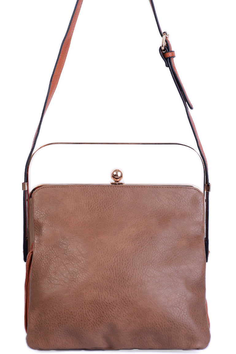 Ladies Triple Compartment Brown Bag with Metallic Handle