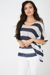Ladies Knitted Top in Stripes Ex Brand