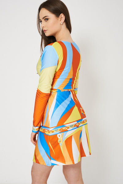 Abstract Pattern Wrap Dress, Dresses - First Impression UK