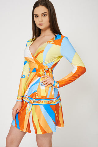 Abstract Pattern Wrap Dress - First Impression UK