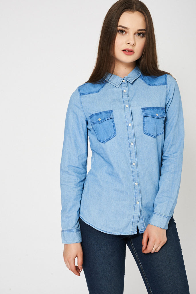 14ed855c784 Buy Blue Two Tone Denim Shirt Available In Plus Sizes at First ...