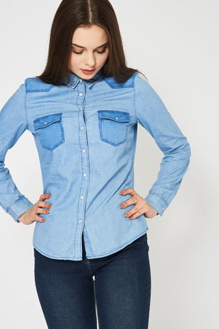 Blue Two Tone Denim Shirt Available In Plus Sizes - First Impression UK