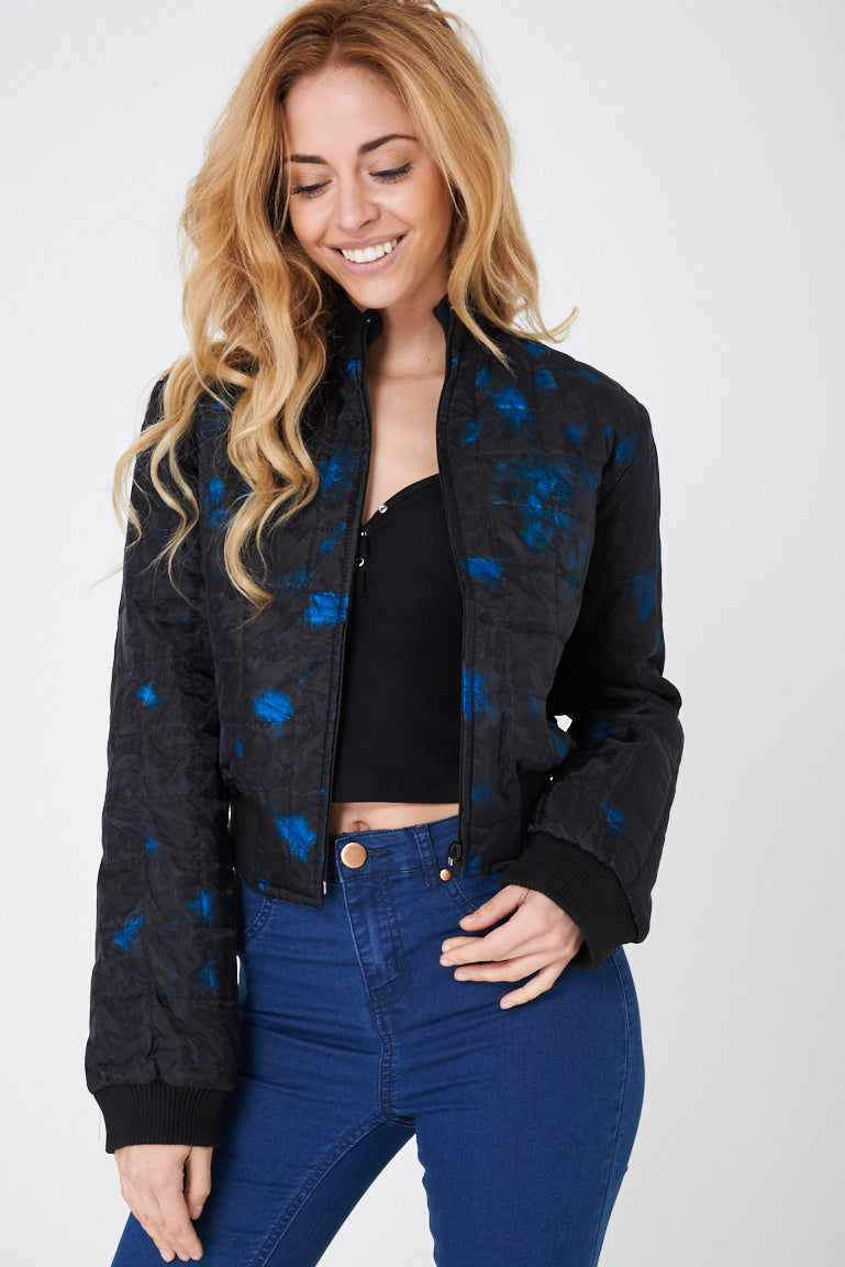 Ladies Black Bomber Jacket with Blue Real Feather Insert