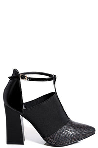 Black Flared Heel Pointed Shoes, High Heels - First Impression UK