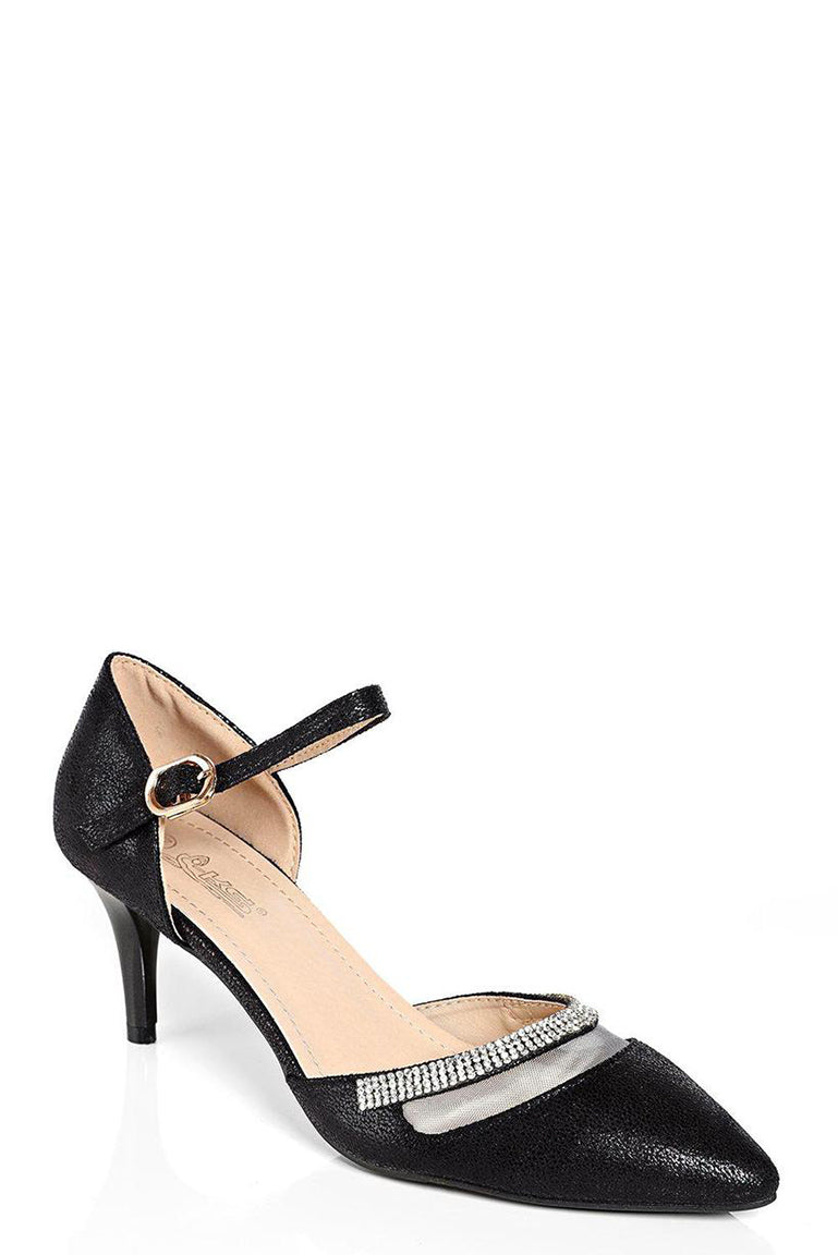 Black Pointed Heels with Embellishment, High Heels - First Impression UK