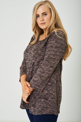 PLUS SIZE Speckled Long Sleeve top