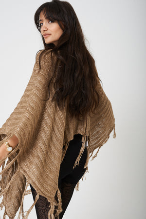 Brown Poncho with Metallic Insert, Knitwear - First Impression UK