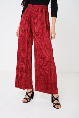Ladies Crushed Velvet Burgundy Wide Leg Trousers