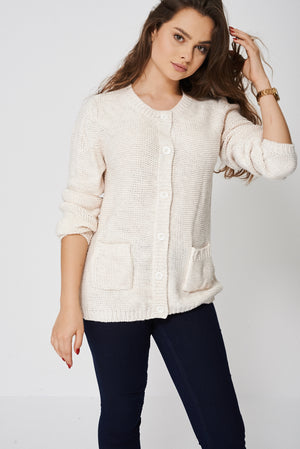Chunky Knit Cardigan With Button - First Impression UK